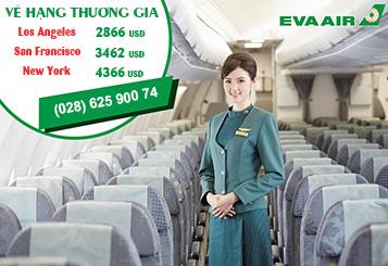 Eva Air khuyến mãi vé máy bay đi Mỹ hạng thương gia