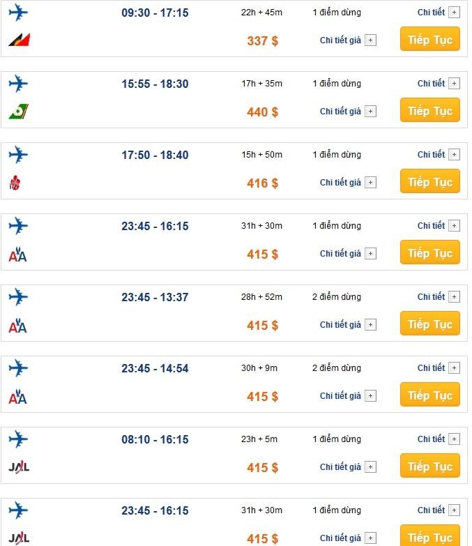 Bảng giá vé máy bay đi San Francisco